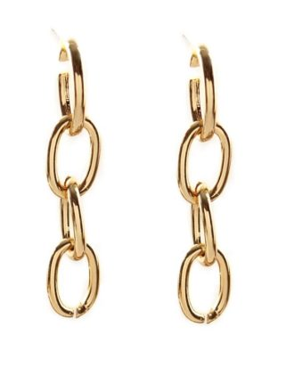 Chain Drop Embellished Hoop Earrings